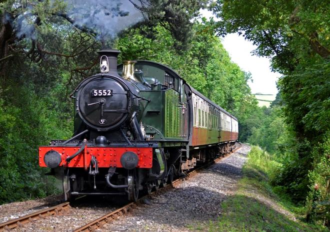 Steam train travelling through Cornwall