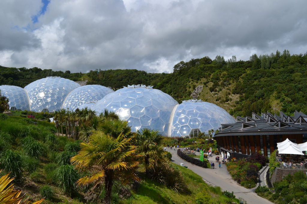 The Eden Project biomes on a sunny day