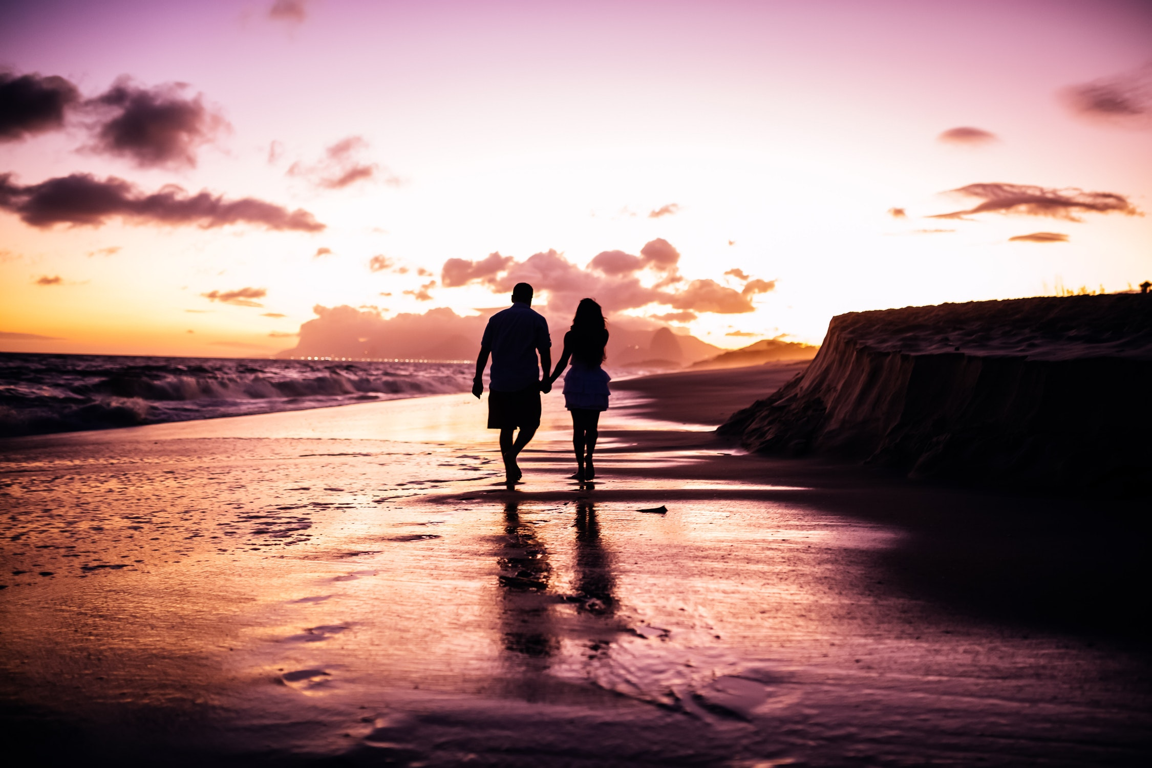 Romantic beach stroll in Cornwall