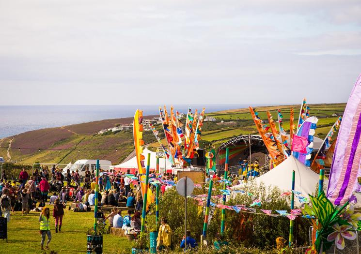 People at Tropical Pressure Festival in Cornwall