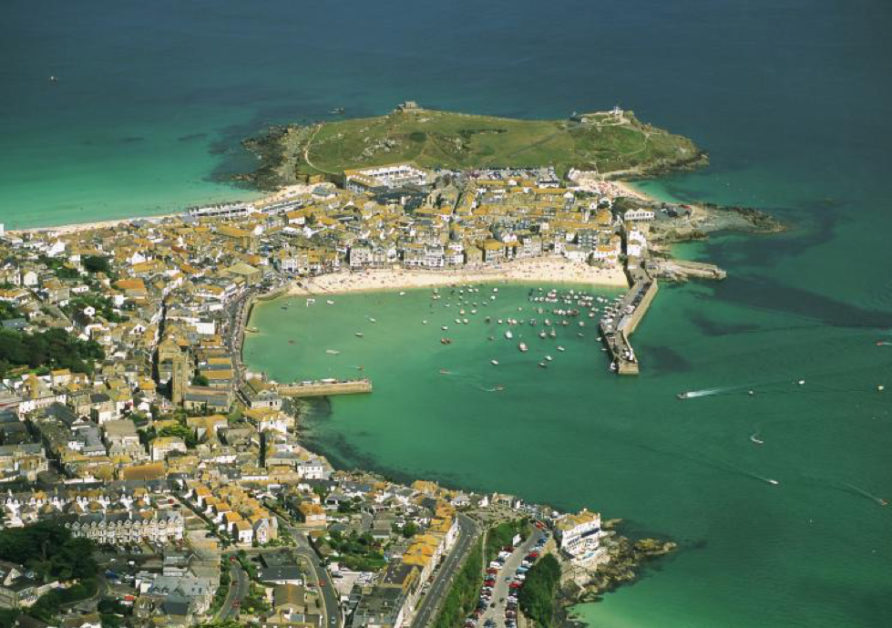 Birdseye view of the coastal town St Ives