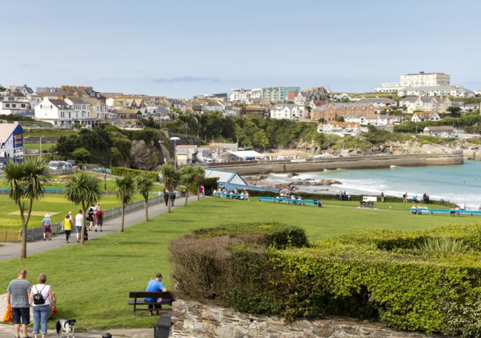 Landscape view of the seaside town Newquay