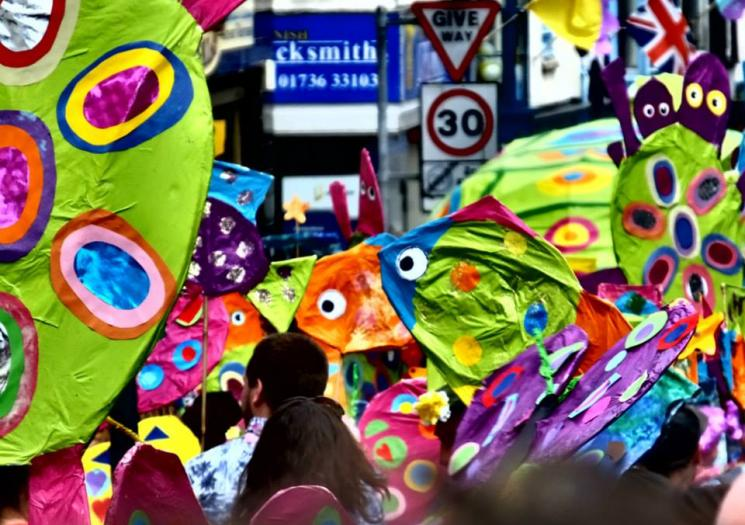 Colourful parade at the Golowan Festival