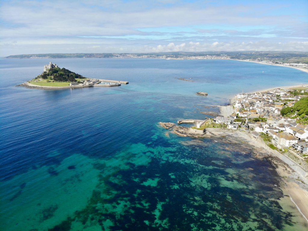 aerial view of St Michael's Mount in Cornwall