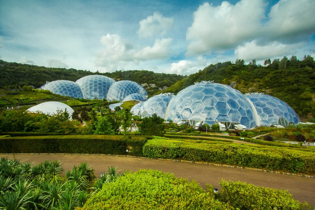 Birds eye view of the Eden Project in Cornwall
