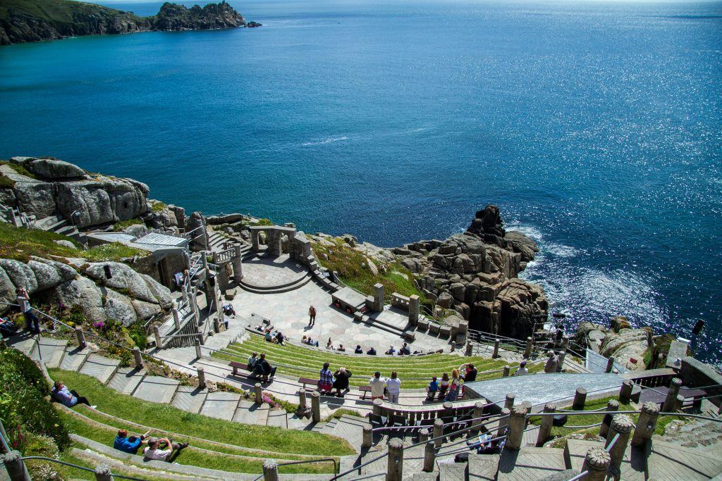 An aerial view of the Minack Theatre in Cornwall