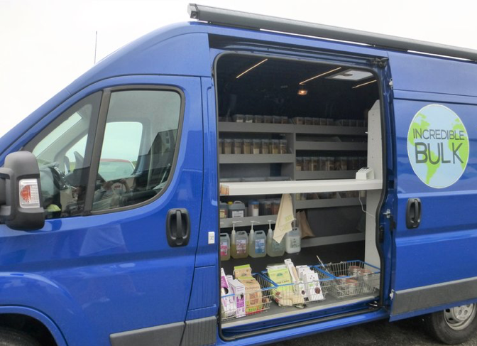 The Incredible Bulk van full of zero-waste products.