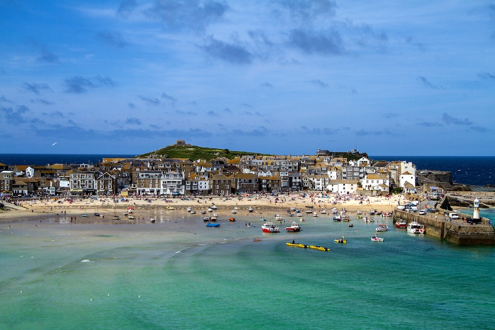 A view of the coastal town, St Ives in Cornwall