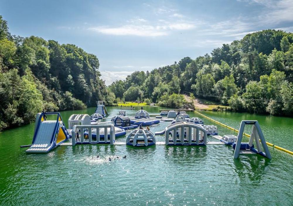 The giant inflatable aquapark at Adrenalin Quarry in Liskeard, Cornwall