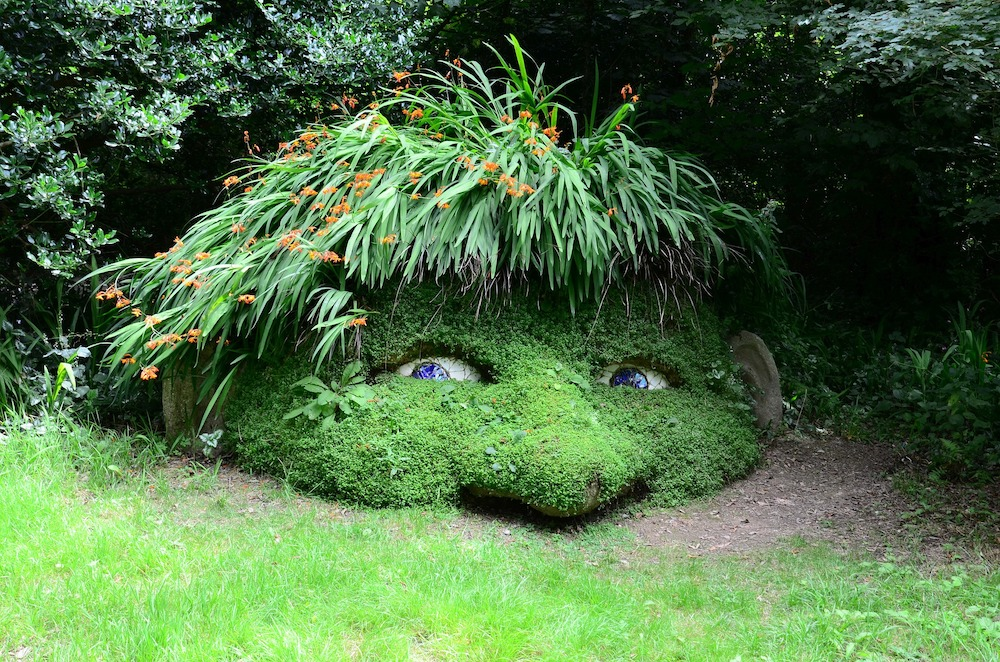 The giant's head in the ground at the Lost Gardens of Heligan in Cornwall