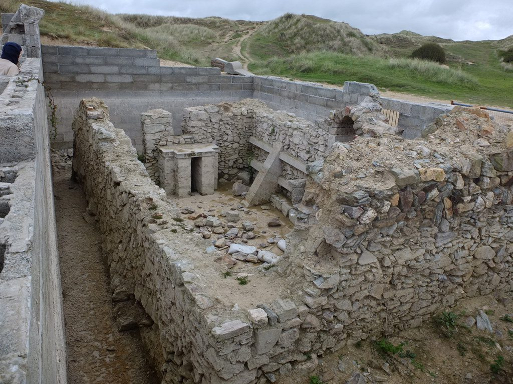 The remains of St Piran's Oratory, Perranporth.