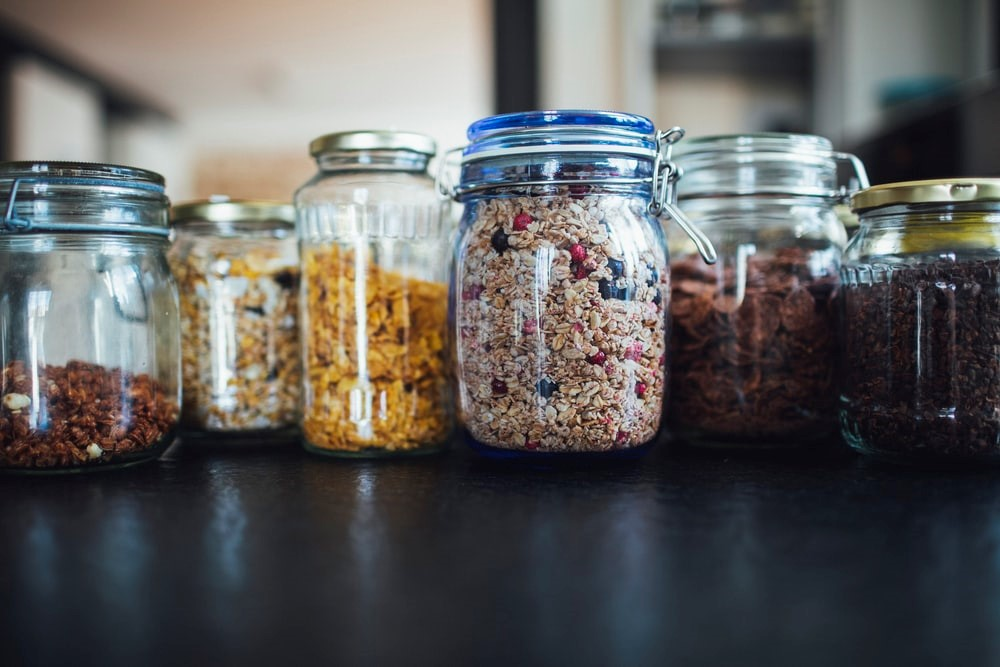 Glass jars filled with food
