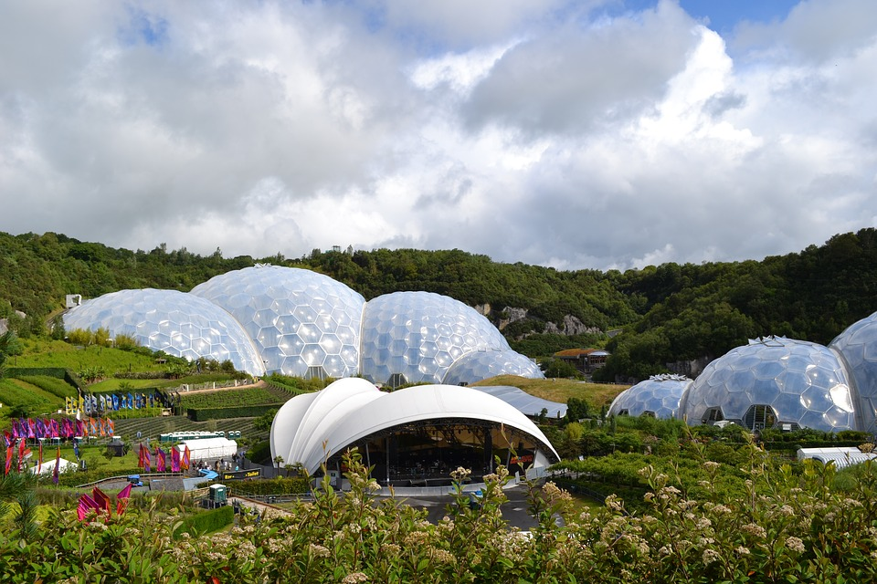 The white biomes of the Eden Project in Cornwall