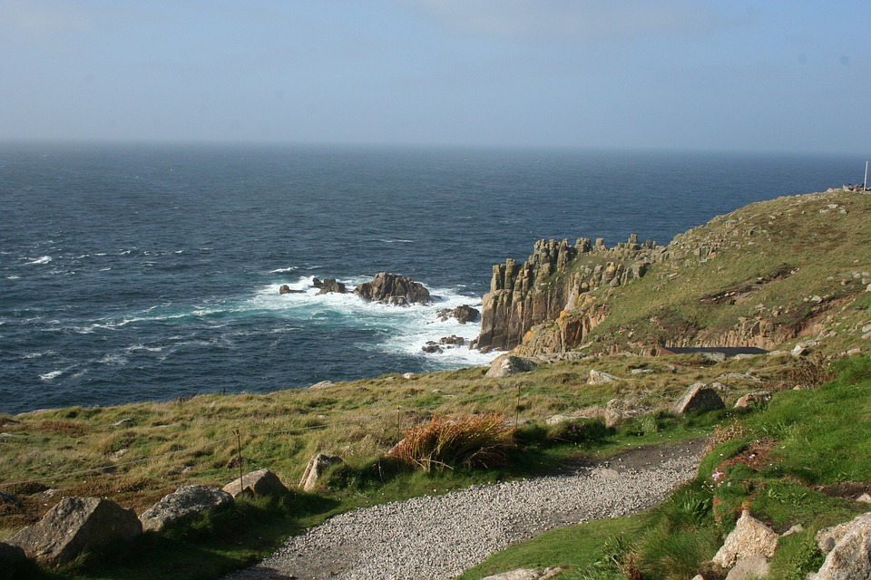 Rocky coastline and sea views at Land's End in Cornwall