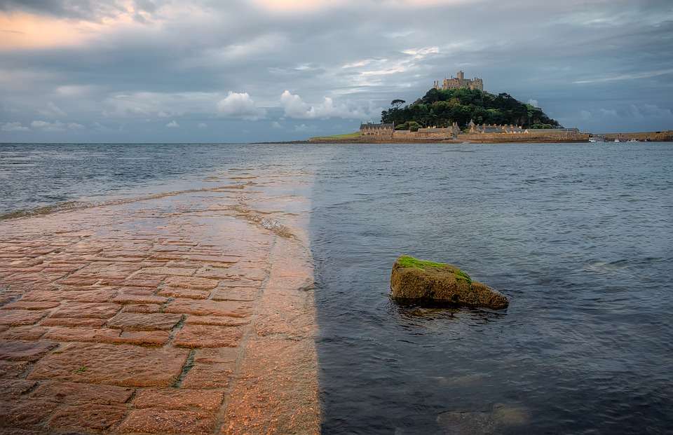 The path to St. Michael's Mount in Cornwall submerged in sea water