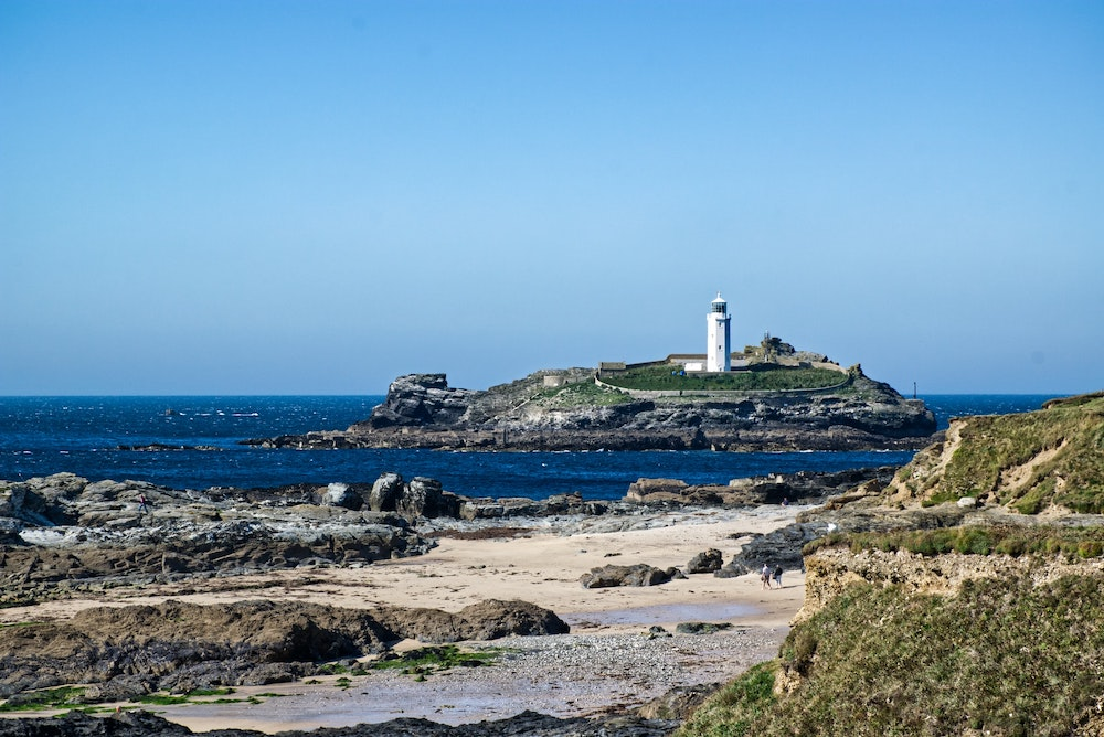 Godrevy lighthouse on Gwithian beach