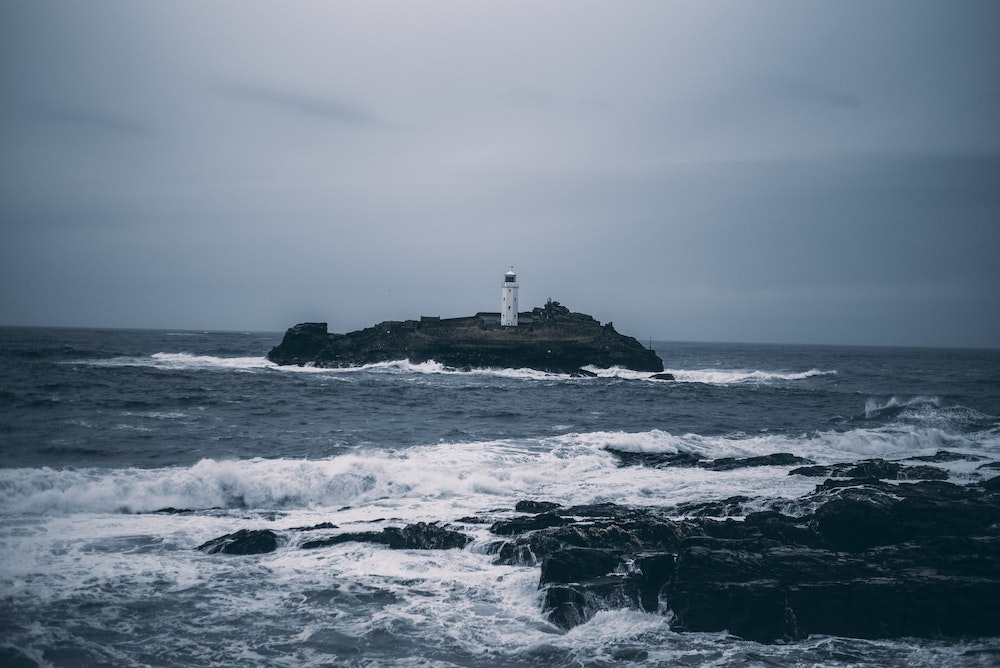 Godrevy Lighthouse in a storm