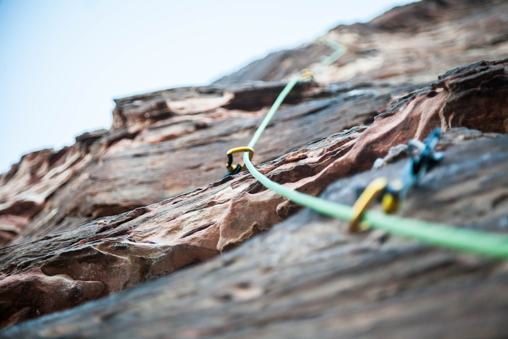 Rock climbing ropes on a rock