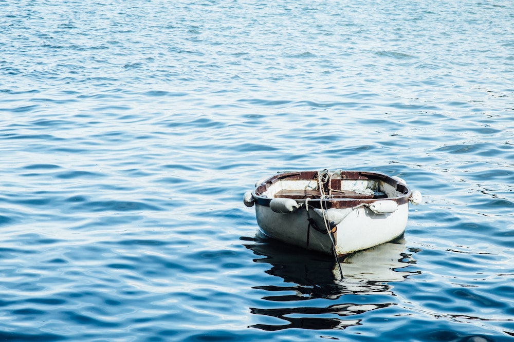 A little boat in the sea at Falmouth.