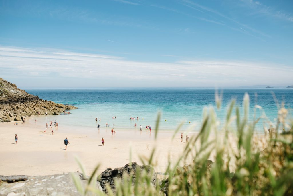 A beach in St Ives on a sunny day