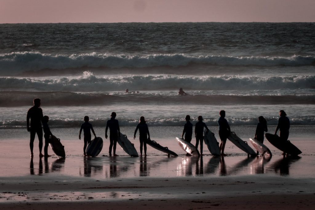Surfers at Watergate Bay