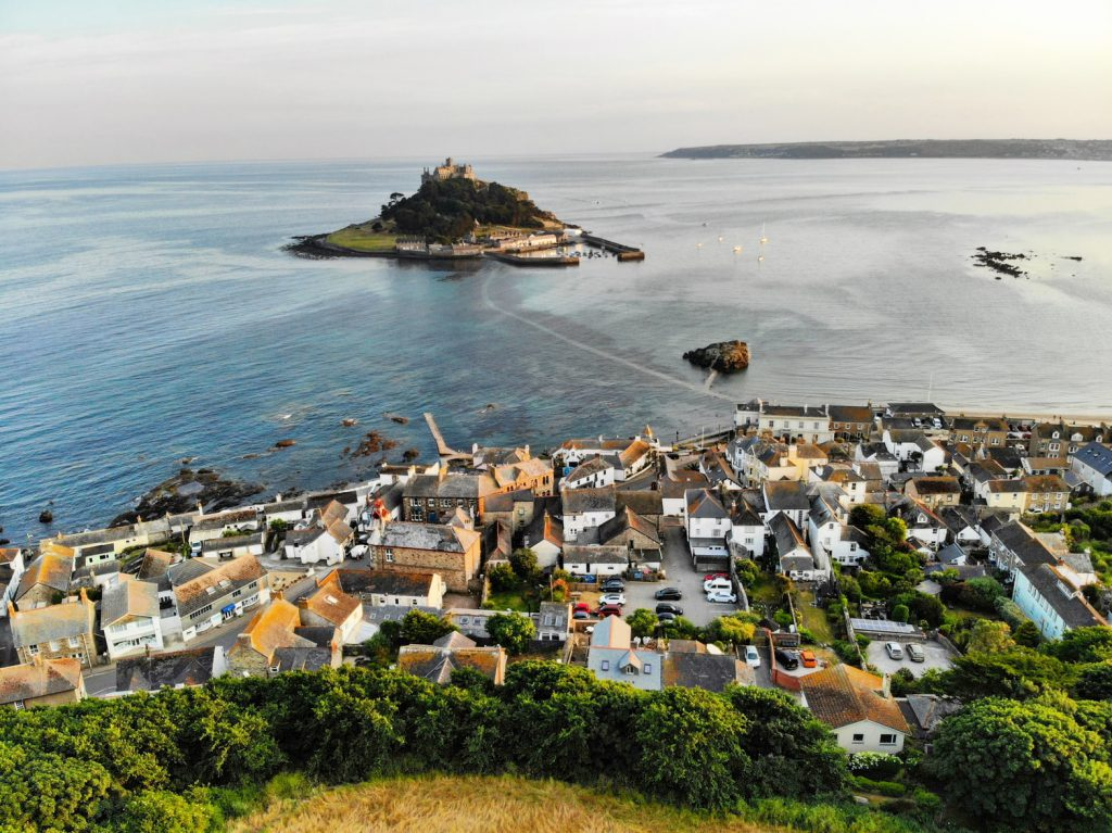Houses in Marazion with the view of St Michaels Mount