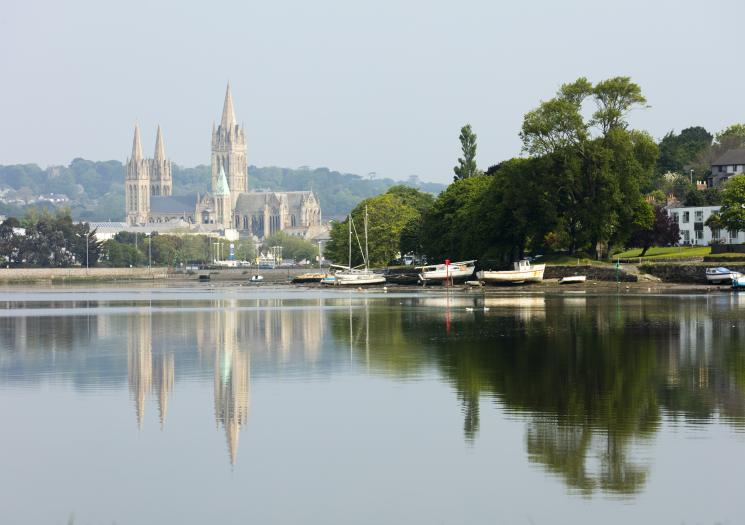Truro Cathedral over the water