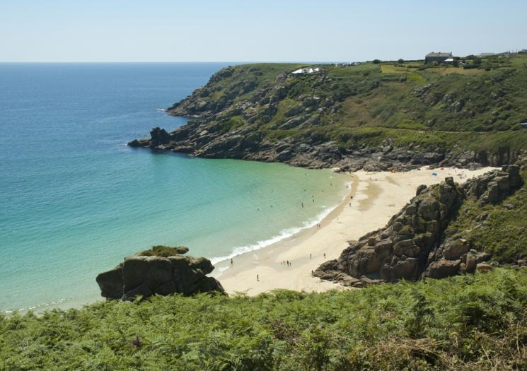 Porthcurno Beach from one of the surrounding cliffs