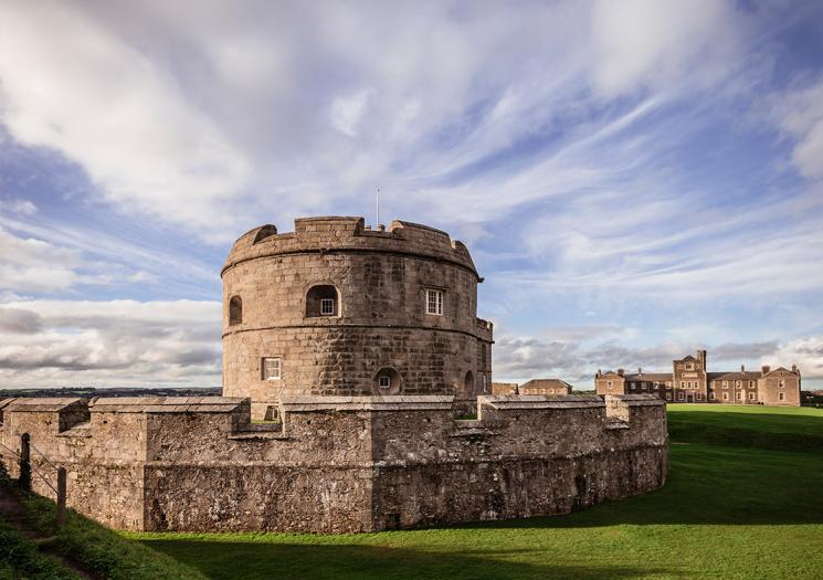 Pendennis Castle on a cloudy day