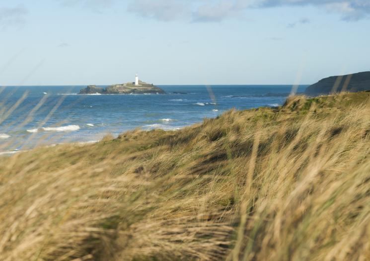 The view of Godrevy Lighthouse from the dunes