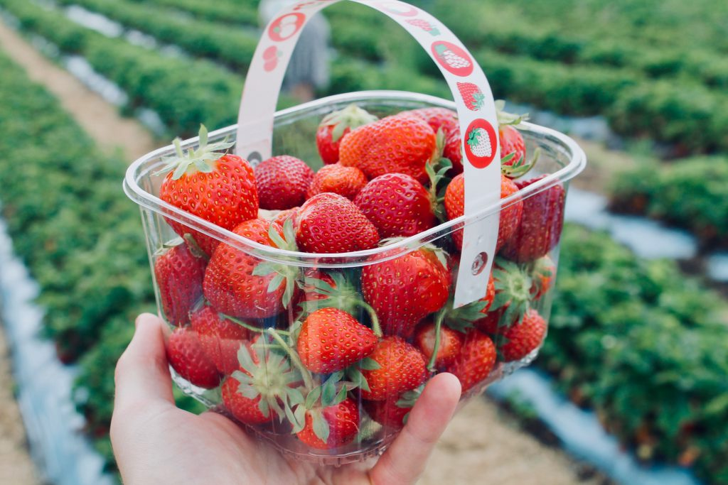 A container full of strawberries